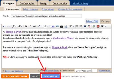 Novo recurso: Visualize sua postagem antes de publicar