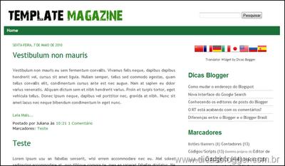 Promoção Dicas Blogger – ganhe prêmios com o template Magazine