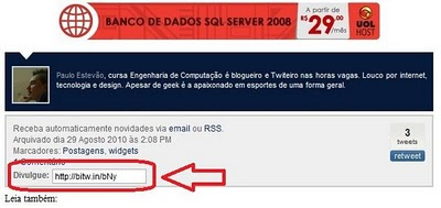Encurte automaticamente os links do seu blog com o Bitw.in e divulgue