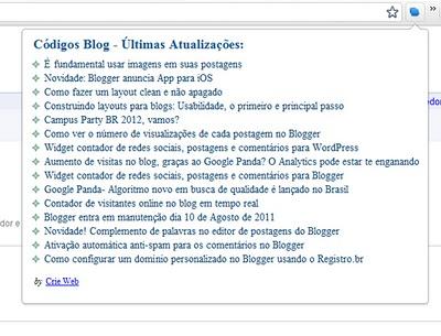 Extensão com as últimas atualizações do seu blog para Google Chrome