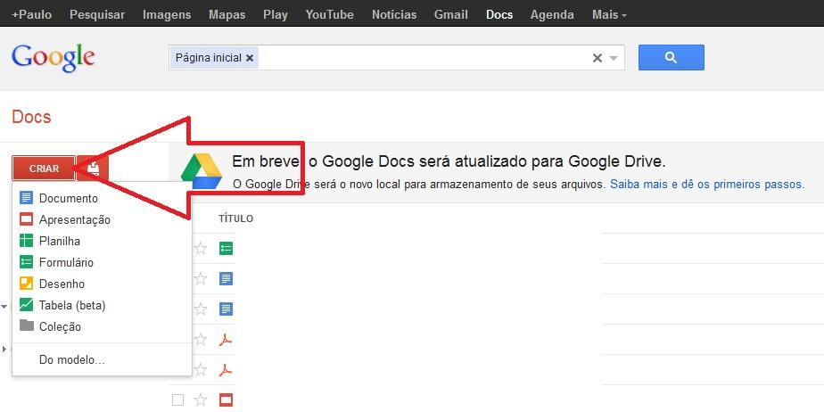 Imagem criar arquivo no Google Docs