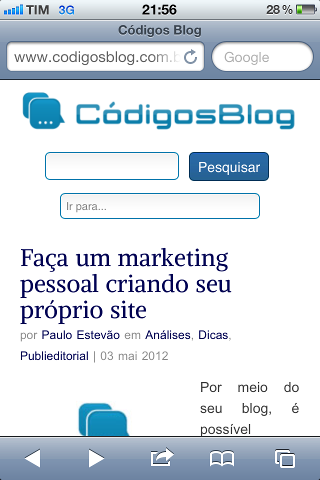 Códigos Blog no iPhone