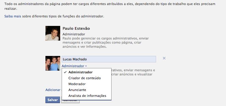 Como compartilhar a administração de páginas no Facebook