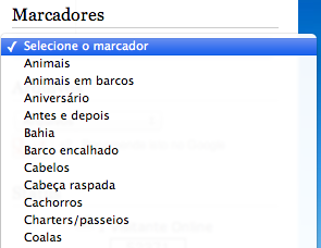 Marcadores em menu suspenso select no Blogger