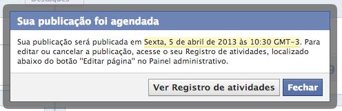 Publicação agendada Facebook