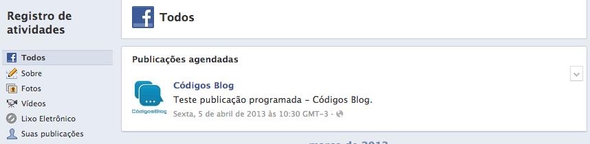 Publicações agendadas Facebook