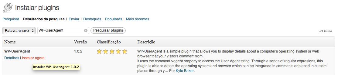 Instalar WP-UserAgent - Navegador e sistema operacional do usuário