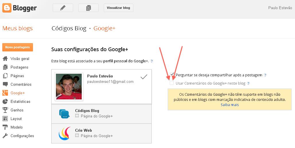 ativar comentários google+ no Blogger