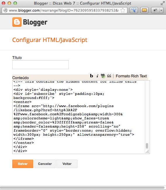 código inserido no blogger