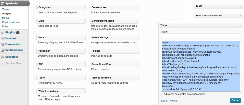 código inserido no wordpress