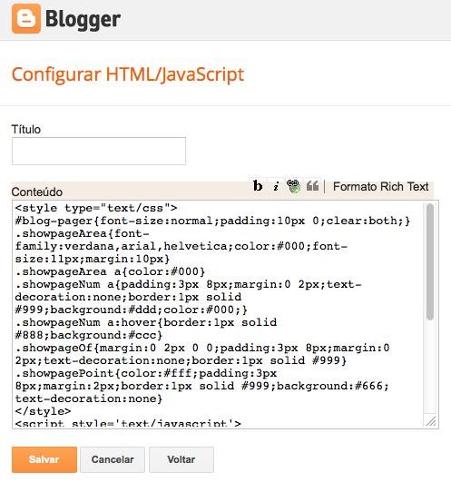 inserir código html paginas