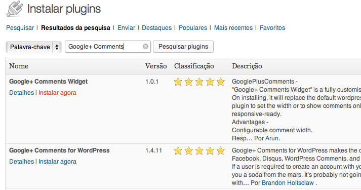 Instalar Google+ comments WordPress