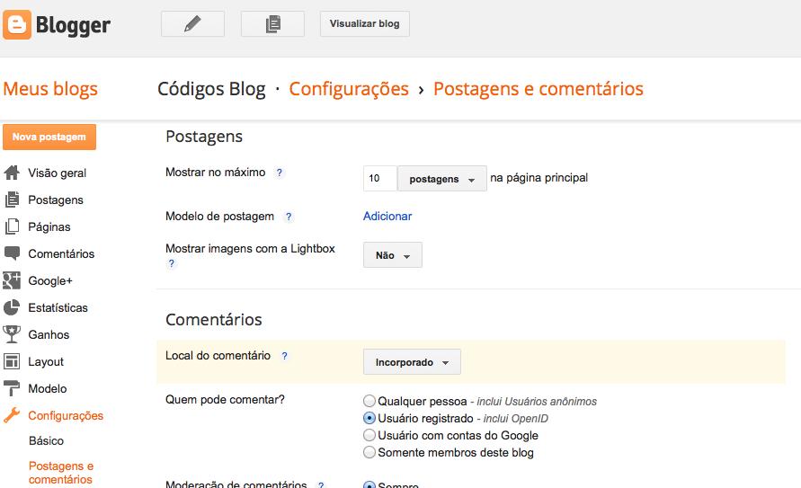 configurar número postagens Blogger